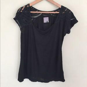 Anthropologie Black Short Sleeve Lace Top, Medium